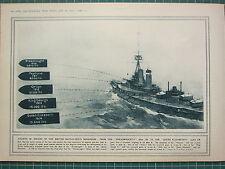 1915 WWI WW1 PRINT ~ GROWTH IN WEIGHT BRITISH BATTLE-SHIP'S BROADSIDE