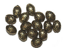 15mm Oval Fleur Antiqued Goldtone Metalized Metallic Beads