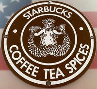 VINTAGE STARBUCKS COFFE, TEA, & SPICES PORCELAIN SIGN, CAFE, RESTAURANT, GAS OIL
