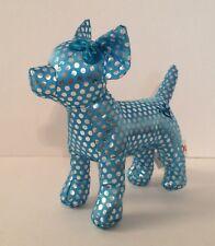 "Aurora 6"" Small Plush Dog Blue with Metallic Polka-Dots Embroidered Heart Love"