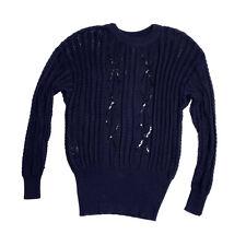Vintage Escada Size 40 Knit Sweater Black Sequins Cotton Rayon Women's
