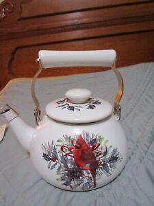 Lenox Winter Greetings Cardinal Enamel Tea Kettle/ Teapot/ Tea Pot