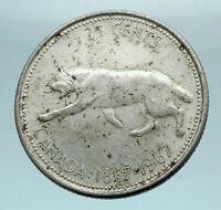 1967 CANADA Confederation Centennial Silver 25 Cents Coin LYNX Wild Cat i78460