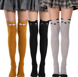 Women Lady Cat Warm Thigh High Over Knees Stockings Pantyhose Tights Long Socks