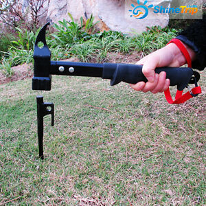 Camp Mallet Hammer Tent Pegs Stake Puller Remover Tools Black Heavy Duty Steel