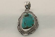 Signed Navajo Native American Sterling Silver Crow Springs Turquoise Pendant