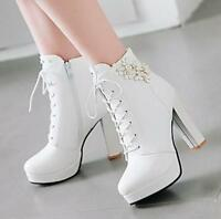 Sweet High Chunky Heel Ankle Boots Women Lace Up Side Zip Platform Shoes Zsell