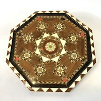 Vintage Wood Marquetry Inlay Serving Vanity Tray or Wall Decor Taracea Spain