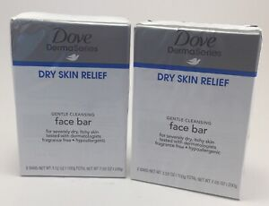 Lot of 2 Dove Derma Series Dry Skin Relief Face 4 Bars Soap Fragrance Free NEW