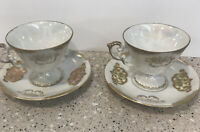 Vintage Royal Crown Footed 2 Tea Cups & Reticulated 2 Saucers Lusterware Gold