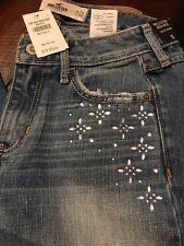 HOLLISTER BY ABERCROMBIE WOMEN SUPER SKINNY EMBELLISHED JEANS 0 R W 24 NEW $79.9