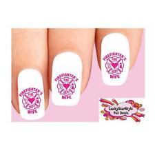 Waterslide Nail Decals Set of 20 - Firefighter's Wife Pink