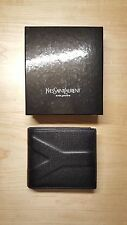 Yves Saint Laurent Y Saffiano Black Leather Billfold Wallet ID RARE STYLE*NIB*