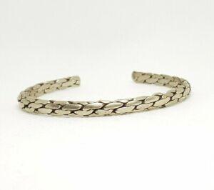 Handmade White Metal Cuff/Bangle/Bracelet *Braided/Plaited/Twisted* (Silver)
