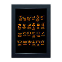 Funny Dash Icons Framed Car Print Home Decor Wall Art Man Cave Shed Garage