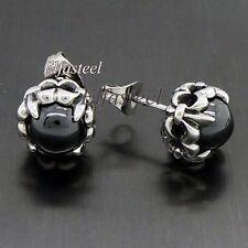 Zirconia 316L Stainless Steel Stud Earrings Fleur De Lis Round Black Oynx Cubic