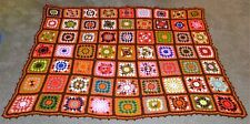 Multi-Colored Granny Squares AFGHAN Handmade Knit Blanket Throw