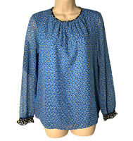 Boden Women's Blouse US Size 4 Blue Floral Long Sleeve. Stretch Back Panel