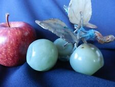 JADE FRUIT APPLES AND LEAVES 3 APPLES VERY OLD GOOD ANTIQUE VINTAGE CONDITION