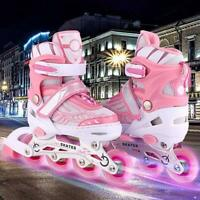 Adjustable Kids Roller Blades Inline Skates Light Up Wheels Rollerblades Tracer~