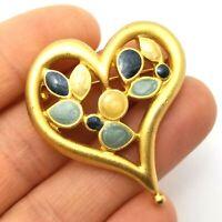 Vintage Costume Jewellery Enamel Heart Brooch