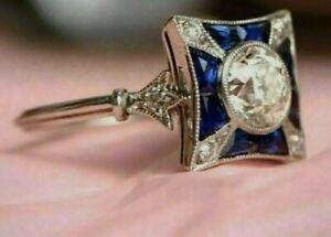 2.5 Ct VVS1 Diamond Art Deco Vintage Engagement Antique Ring 14K White Gold Over
