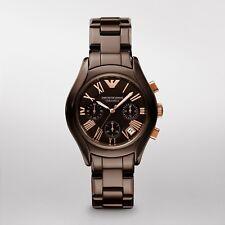 Emporio Armani AR1447 Ladies Brown Ceramic Chronograph Designer Watch