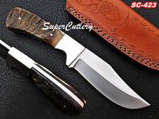 Custom Handmade Steel D-2 STEEL Knife Lamb Horn and Steel Bolster Handle