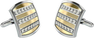 1.26CT NATURAL ROUND DIAMOND 14K SOLID WHITE YELLOW GOLD CUFF LINK FOR MEN