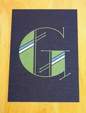 JESSICA HISCHE TYPOGRAPHIC POSTCARD ~ DAILY DROP CAPITAL LETTER G ~ GREEN