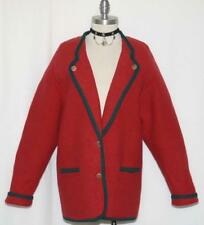 GEIGER ~ RED BOILED WOOL AUSTRIA Winter THICK & WARM Walk SWEATER Jacket 38 12 M
