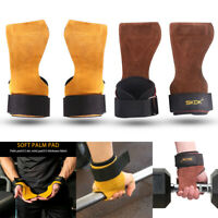 1Pair Weight Lifting Hand Grips Leather Gloves Anti-Skid Training Hand Wrist