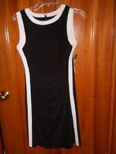 NWT Chaps Medium Petite Black & White Sleeveless Dress $90 Knee Length