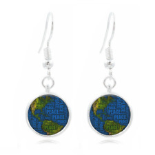 Peace On Earth glass Frea Earrings Art Photo Tibet silver Earring Jewelry #408