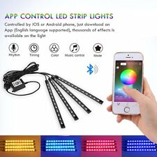4pcs Bluetooth Car Interior USB RGB LED Strip Atmosphere Light Phone APP Control