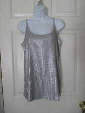 VINCE Silver Gray Sequin Cami Tank Shirt Size M