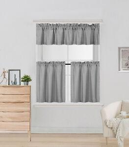 Short Blackout Window Curtain Rod Pocket Valance Tier Panels 3 Piece Set K4