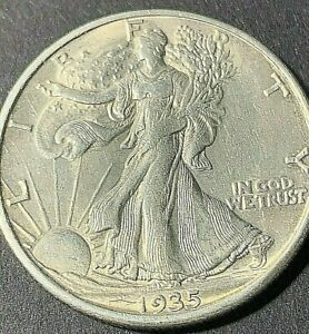 1935 S Walking Liberty silver half dollar, BU