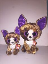 "TY DEXTER CHIHUAHUA SET OF 2(6"" & 9"") BEANIE BOOS-NEW,MINT TAG*IN HAND*SOFT,CUTE"