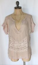 ANTHROPOLOGIE SEE THROUGH SHEER TOP WITH LACE BY WILLOW AND CLAY