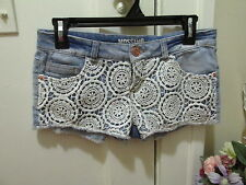 MOSSIMO Lacey denim JEAN SHORTS Distressed cut off booty Crochet lace SHORTS 5