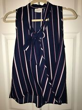 Striped Dark Navy Blue Blouse With Red And White Stripes Short Sleeved