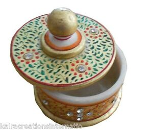 Indian Handmade Painted Marble Box Decorative Hand With Gold Work