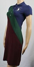 Ralph Lauren Small S Navy Green Burgundy Polo Dress Big Pony NWT