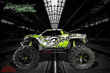 "TRAXXAS E-MAXX GRAPHICS WRAP DECALS ""GEAR HEAD"" PALE GREEN FITS OEM BODY PARTS"