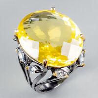 Handmade35ct+ Natural Lemon Quartz 925 Sterling Silver Ring Size 8/R123386