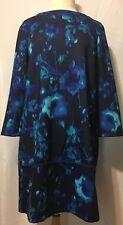 NWT Daisey Fuentes Blue Floral Print Sheath Long Sleeve Dress Size L $68