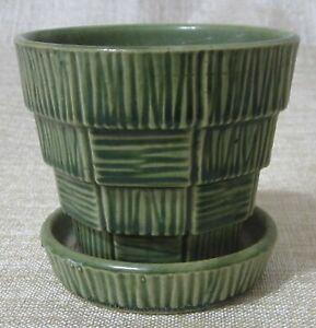 "Vintage McCoy Pottery Mid-Century Vintage Green ""Basketweave"" Flowerpot"
