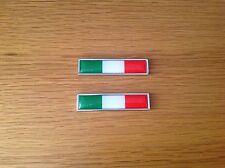 2x ITALY NATIONAL FLAG METAL BADGE EMBLEMS - FIAT - ALFA - FERRARI - LANCIA