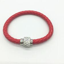 04 Leather Wrap Wristband Cuff Punk Magnetic Rhinestone Buckle Bracelet Bang b05